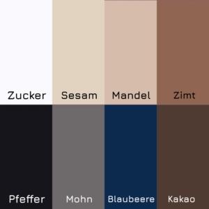 Farbübersicht von dennda zu den Juzo Standardfarben Gewürzwelten