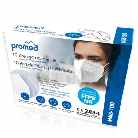 Karton mit 10 einzeln folierten Atemschutzmasken von Promed CE2834